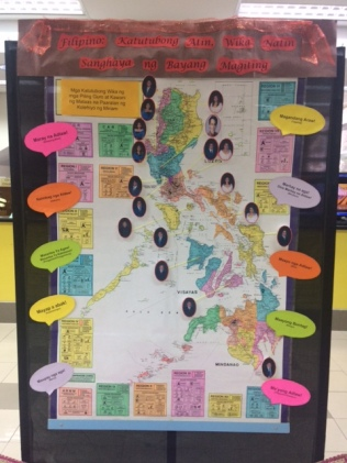 """Infographic ng mga pinagmulan na probinsiya at katutubong wika ng ilang piling guro ; katumbas na pagbati ng """"magandang araw!"""" gamit ang katutubong wika."""